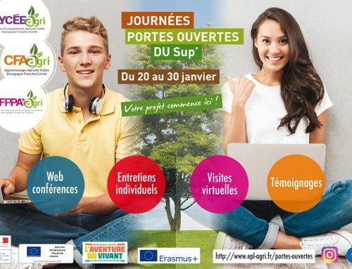 Journées portes ouvertes du Sup' de l'Enseignement Agricole Public Bourgogne Franche-Comté du 20 et 30 janvier !